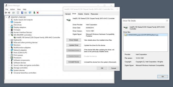 IDE ATA/ATAPI controller details in the Windows Device Manager