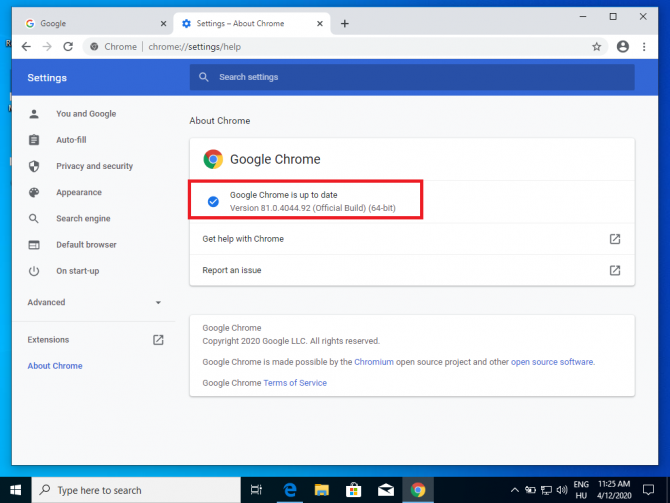 Google Chrome version information in Settings