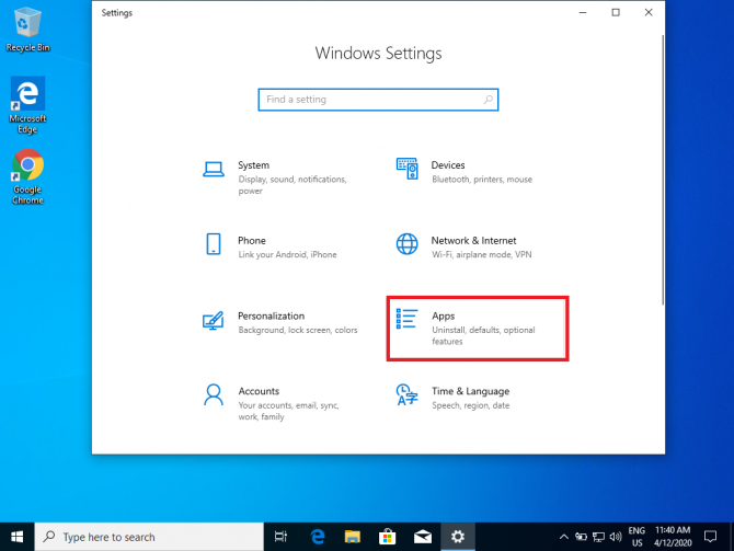 Apps section in Windows Settings