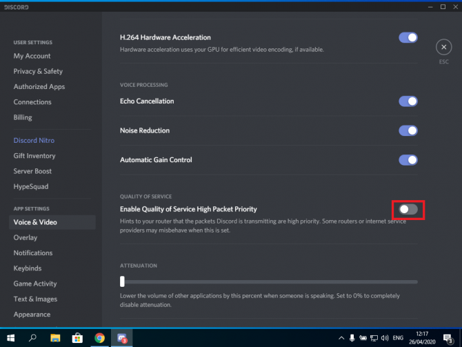 Disable the 'Enable Quality of Service High Packet Priority' setting