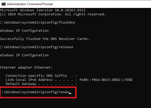 ipconfig /renew command