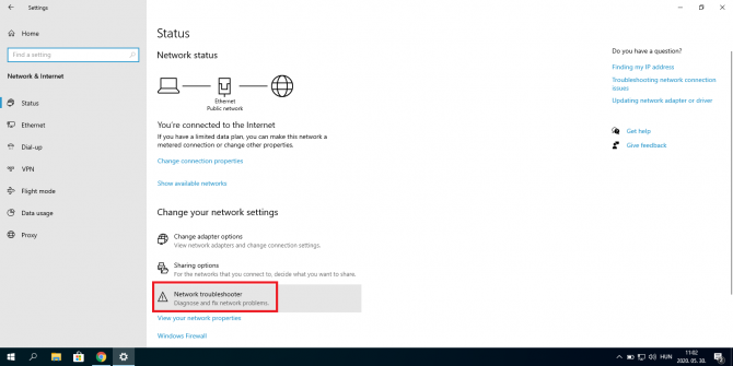 Starting Network Troubleshooter in Windows 10