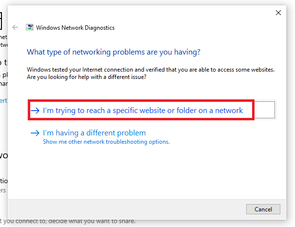 Network Troubleshooter window asking for type of problem