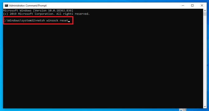 Winsock reset command in Command Prompt
