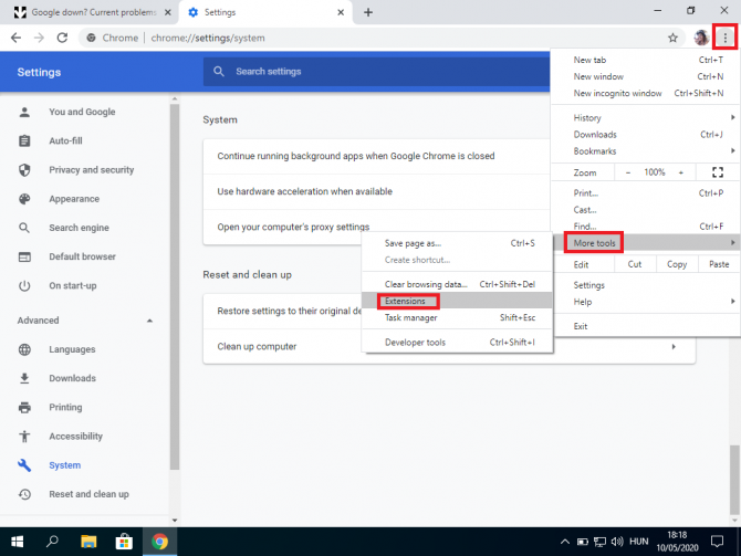 Chrome extension settings