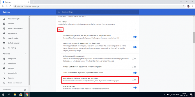 Turning off Preload pages for faster browsing and searching