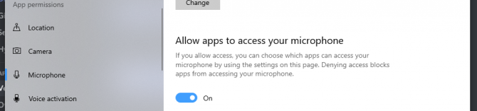 Turn on the toggle to allow Discord to access your microphone