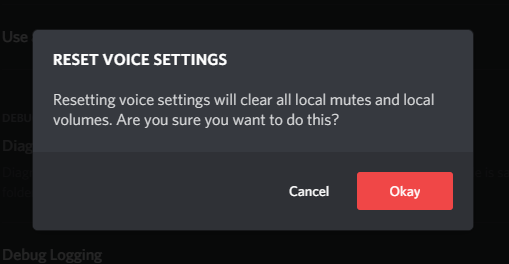 Confirm Reset Voice Settings by clicking Okay