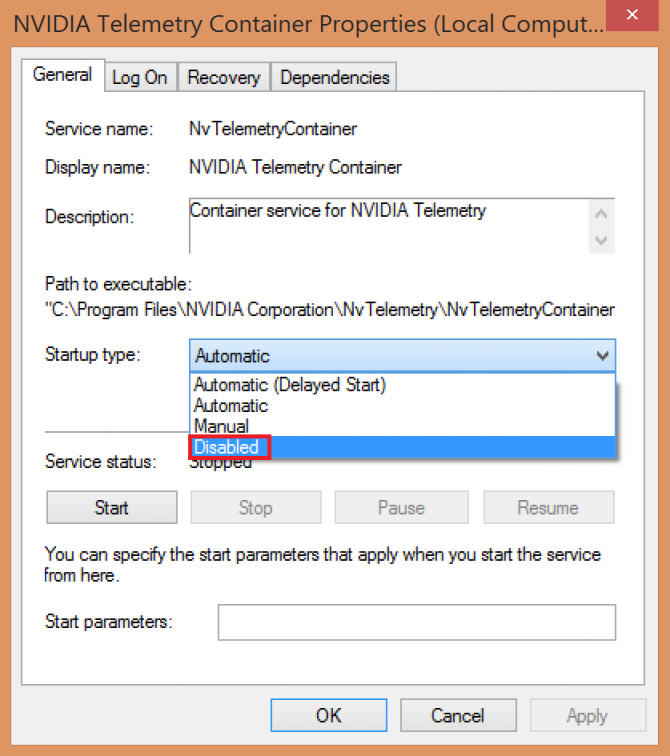 disabling startup of Telemetry container