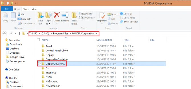 selecting DisplayDriverRAS folder from LocalSy