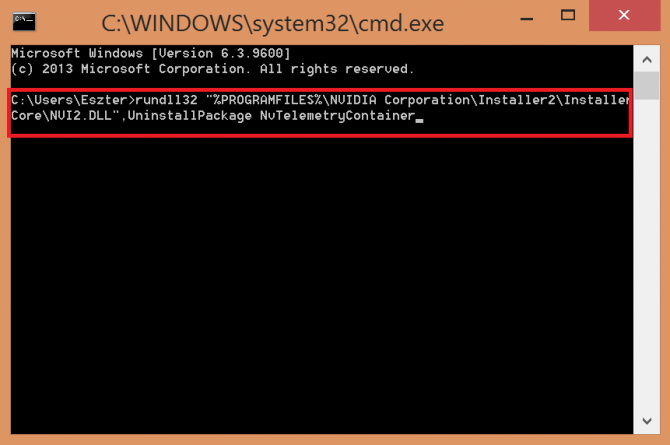 Deleting Telemetry Container from command prompt