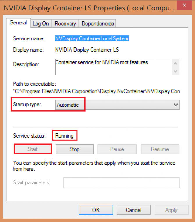 setting Nvidia Display container to start automatically