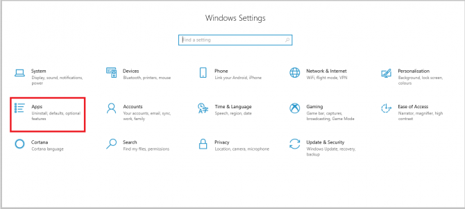 opening Apps in Windows 10