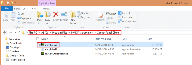 opening Nvidia Control Panel from installation folder