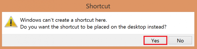 confirming creating a shortcut on the desktop