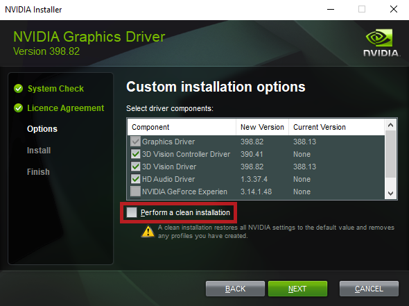 performing clean installation of nvidia driver