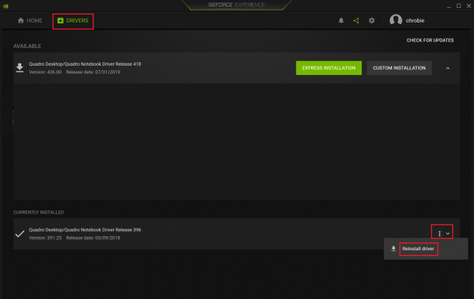 Updating driver from GEForce Experience