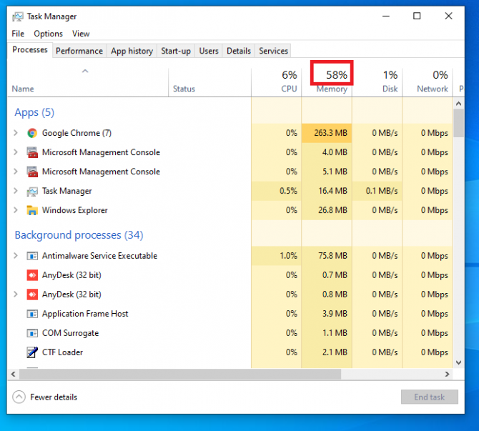memory usage in task manager