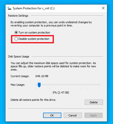 disabling system protection