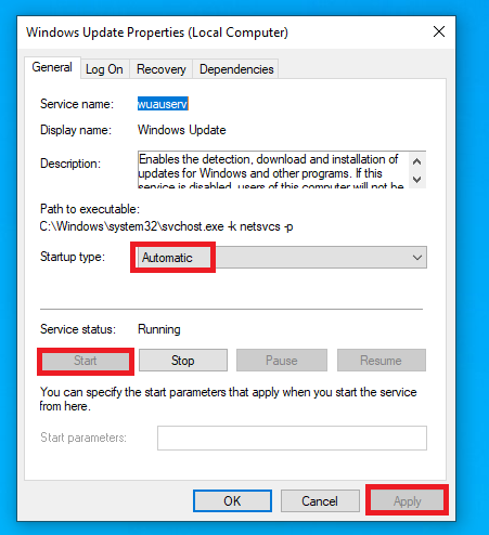setting Windows update startup type to automatic