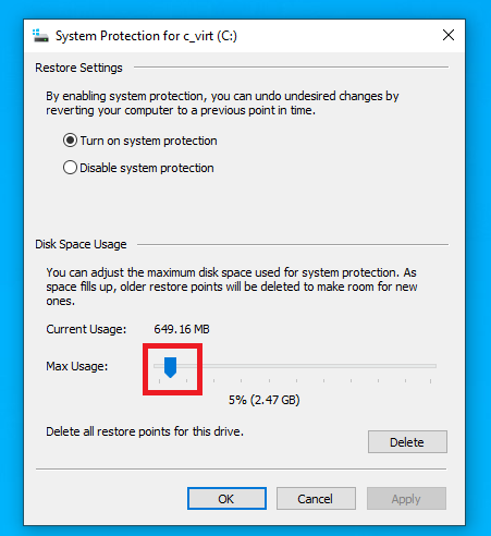 changing backup size with slider