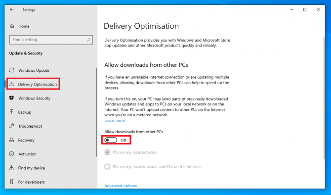 disable downloads from other pcs