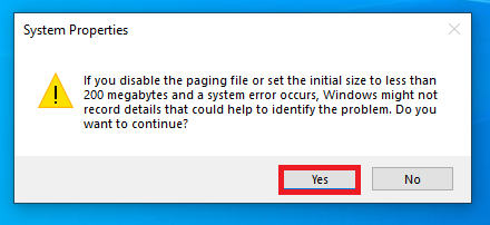 confirm warning about deleting paging file