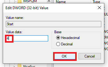 changing dword data to 4