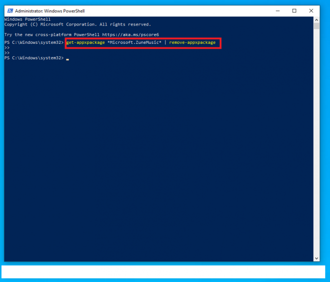 deleting groove music from powershell