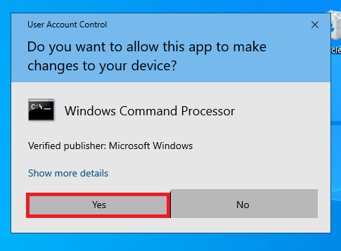 user account control for command prompt