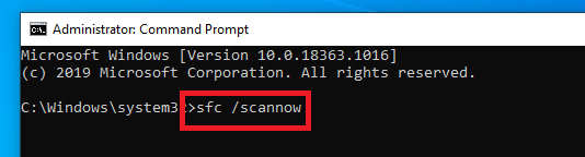 starting sfc scan from command prompt