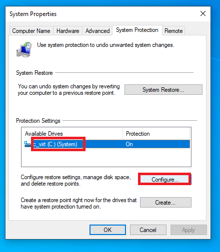 configuring drive for restore point
