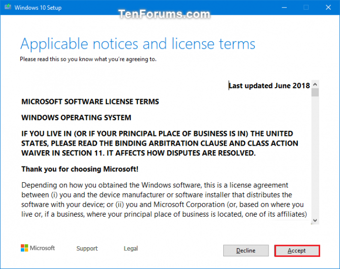 accepting terms and conditions for windows 10 install
