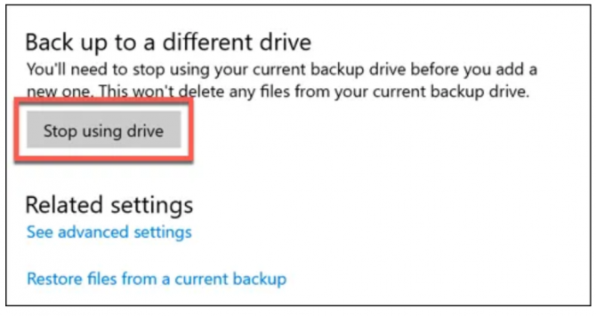 stop using drive for file history