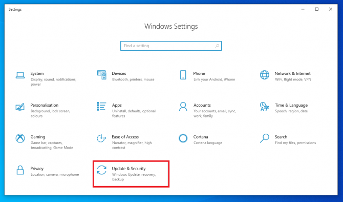 opening windows update and security settings