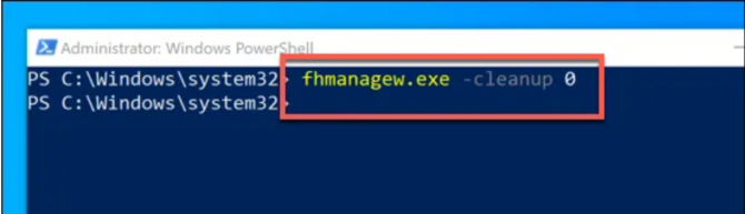 fhmanagew.exe command in powershell