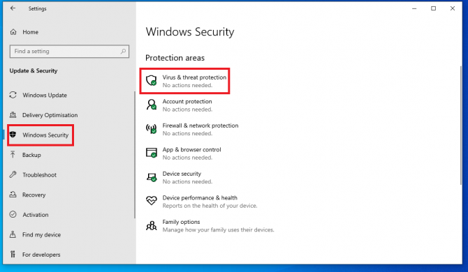open virus and threat protection settings