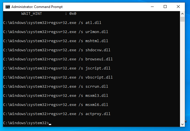re-registering update-related dll files 01