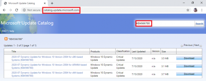 searching for an update in Windows Catalog
