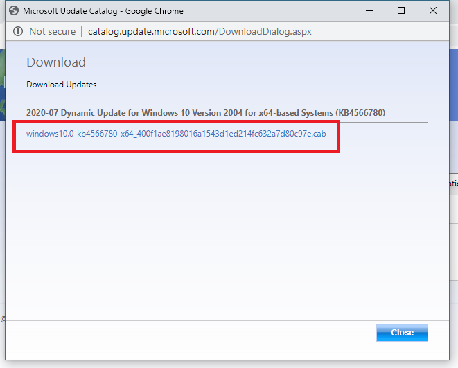 downloading Windows update from Update Catalog