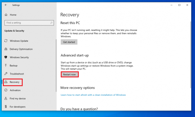 restarting pc for recovery