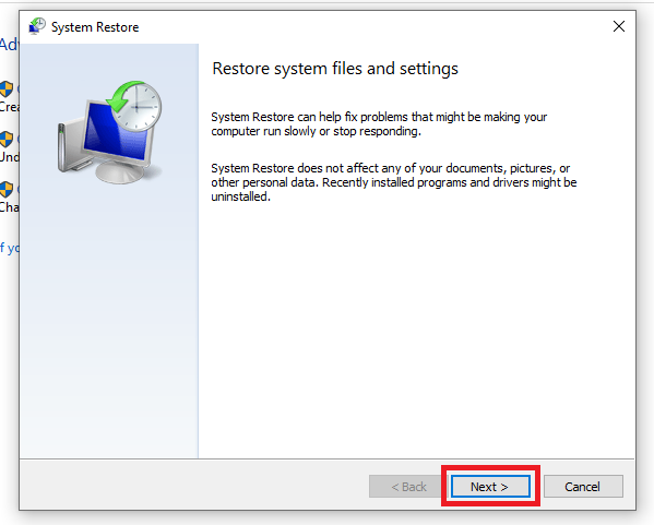 clicking Next on system restore