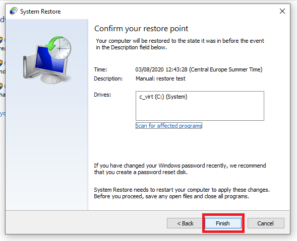 confirming system restore