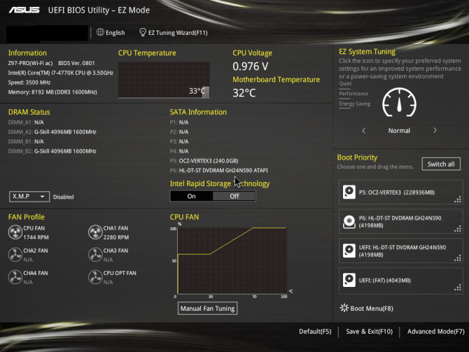 An ASUS BIOS Main Screen