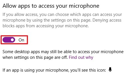 Allow Discord to access microphone in Windows 10.