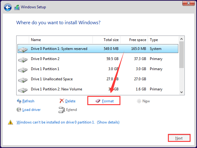 How to Format a Drive from Windows Installation Media