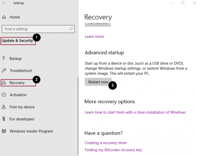 How to use update & security - recovery option to get to the advanced startup screen.