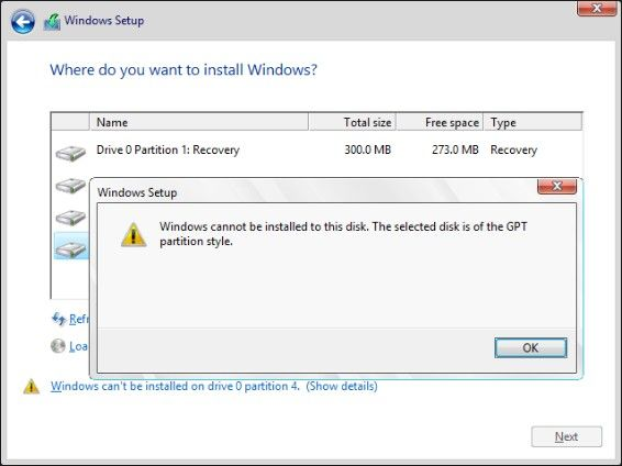 Selected Disk is GPT Partition Style