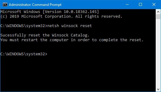 Command Prompt Command Line for Netsh Winsock Reset