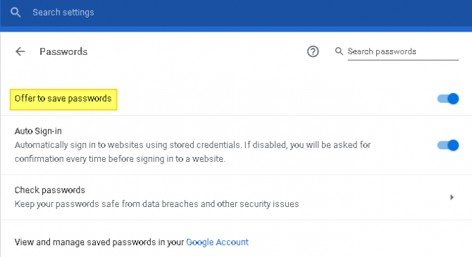How to Toggle on the Offer to Save Passwords Feature